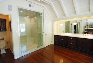 Traditional Master Bathroom with Drop-in sink, European Cabinets, Inset cabinets, Master bathroom, Raised panel, Exposed beam