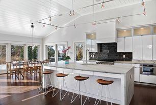 Contemporary Kitchen with Hardwood floors, Breakfast bar, High ceiling, Sharp microwave drawer oven, Pendant light, Flush