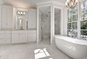 Contemporary Master Bathroom with Undermount sink, Signature Hardware - Boyce Acrylic Tub, Flat panel cabinets, Crown molding