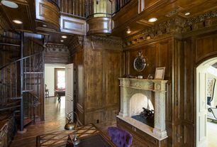 Traditional Home Office with Columns, specialty door, High ceiling, Chandelier, Balcony, Crown molding, Chair rail