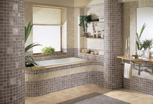 Modern Master Bathroom with Casement, Ms international - tuscany classic wall and floor tile, stone tile floors, Paint 1