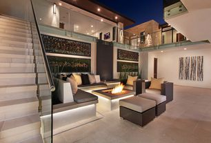 Contemporary Patio with Fire pit, Louvered door, exterior tile floors, Pathway