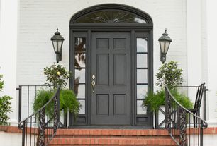 Traditional Front Door with exterior brick floors, Deck Railing, Paint 1, Paint, Arched window, picture window