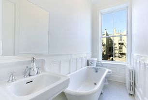 Traditional 3/4 Bathroom with Clawfoot, penny tile floors, Wainscotting, Pedestal sink