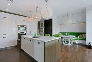 Contemporary Kitchen with can lights, arizona tile, ADIRONDACK BIRCH,  Quartz, White lacquer cabinets, Galley, Paint, Flush