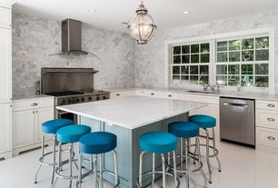 Contemporary Kitchen with Standard height, L-shaped, Complex Marble Tile, Kitchen island, can lights, Paint 1, Flush, Paint 2