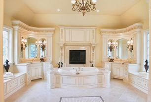Traditional Master Bathroom with Raised panel, Chandelier, Flush, Master bathroom, specialty door, Limestone counters