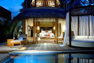 Tropical Deck with North ari atoll, maldives, Wood outdoor single chaise lounge, picture window, Round outdoor bed, Maldives
