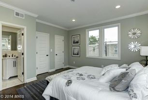 Traditional Master Bedroom with Nuloom cine grey multi striped area rug 5' x 8', Crown molding, specialty door