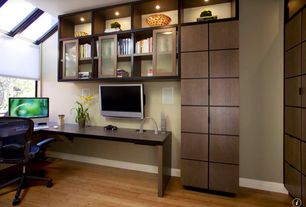 Modern Home Office with Built-in bookshelf, Skylight, Bamboo floors, Mix Color Living Stones Pillows
