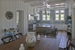 Country Kitchen with Inset cabinets, Box ceiling, Kitchen island, Flat panel cabinets, Custom hood, Farmhouse sink, U-shaped