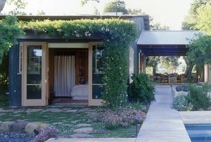 Cottage Exterior of Home with French doors, Arbor