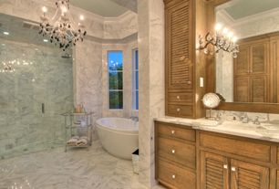 "Traditional Master Bathroom with Flush, Charleston Collection 28"" Black Crystal Chandelier, Undermount sink, Rain shower"