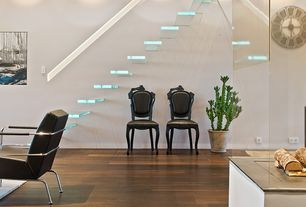 Modern Staircase with Glass staircase, High ceiling, Hardwood floors