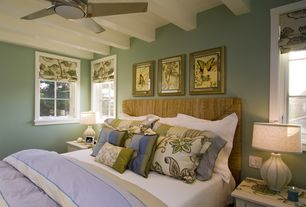 Cottage Master Bedroom with Exposed beam, can lights, Ceiling fan, Casement, Standard height