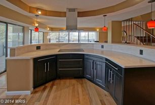 Transitional Kitchen with Complex Marble, European Cabinets, Wall sconce, Flat panel cabinets, Flush, Hardwood floors