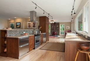 Contemporary Kitchen with Flush, Galley, flush light, Flat panel cabinets, Simple granite counters, Pendant light