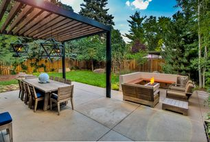 Contemporary Patio with Trellis, Fire pit, exterior tile floors, exterior concrete tile floors, Pathway, Fence