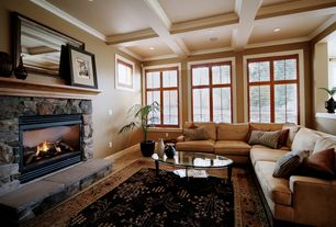 Craftsman Living Room with stone fireplace, Box ceiling, Crown molding, Homelegance burke modular sofa, Tanner coffee table
