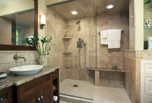 Craftsman Master Bathroom with Simple granite counters, Master bathroom, Inset cabinets, Flush, Handheld showerhead