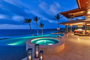 Contemporary Hot Tub with exterior tile floors, Infinity pool, French doors, exterior concrete tile floors, picture window