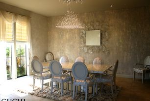Contemporary Dining Room with Chandelier, can lights, travertine tile floors, interior wallpaper, Standard height