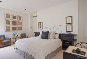 Contemporary Master Bedroom with Carpet