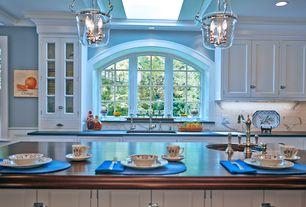 Traditional Kitchen with Undermount sink, Livex Lighting Jefferson Foyer Pendant, Pendant light, Shaker cabinet, Arch window