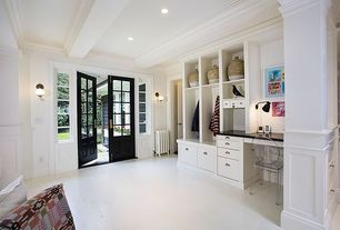 Traditional Mud Room with Exposed beam, Glass panel door, Crown molding, Built-in bookshelf, Hardwood floors, Wall sconce