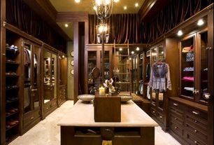 Traditional Closet with Standard height, Chandelier, Crown molding, can lights, Built-in bookshelf, travertine tile floors