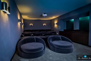 Contemporary Home Theater with Birch Lane Newton Chaise, Carpet, Wall sconce, Three Sixty Lounger