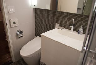 Modern Full Bathroom with Wall mounted sink, European Cabinets, tiled wall showerbath, Large Ceramic Tile, Flush