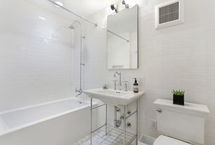 Modern Full Bathroom with Console sink, tiled wall showerbath, Signature hardware mason console sink with brass stand