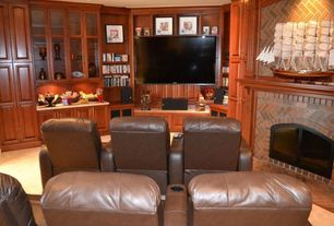 Craftsman Home Theater with Carpet, Built-in bookshelf