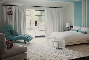 Modern Master Bedroom with Ikea Malm High Bed Frame 4 Storage Boxes, High ceiling, French doors, Shag rug, Chandelier