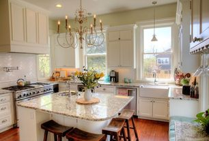 Country Kitchen with Inset cabinets, can lights, double oven range, double-hung window, Custom hood, Flat panel cabinets
