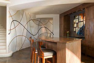 Contemporary Bar with Hardwood floors, Built-in bookshelf, interior wallpaper
