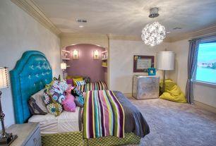 Eclectic Kids Bedroom with Crown molding, Wall sconce, Built-in bookshelf, Chandelier, Carpet