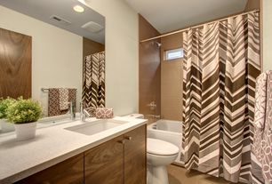 Modern Full Bathroom with Shower, Full Bath, Splash Home Bruce Striped Fabric Shower Curtain, Flush, Casement, Bathtub