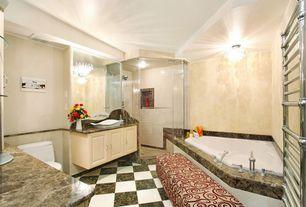 Traditional Full Bathroom with stone tile floors, Standard height, Rain shower, Towel warmer, Full Bath, frameless showerdoor