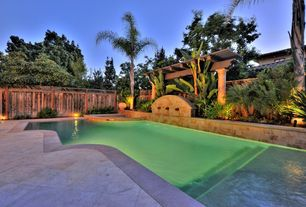 Tropical Swimming Pool with Fountain, Trellis, Pool with hot tub, Raised beds, exterior tile floors, Fence