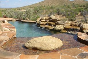 Rustic Swimming Pool with Other Pool Type, Fountain, exterior stone floors