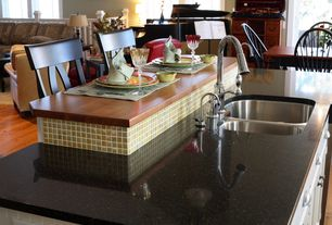 Traditional Kitchen with Breakfast nook, Hardwood floors, Silestone arden blue quartz countertops, Bar stools, Mosaic tile