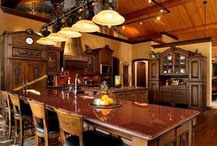 Country Kitchen with L-shaped, Simple granite counters, Glass panel, Raised panel, Framed Partial Panel, Simple Granite