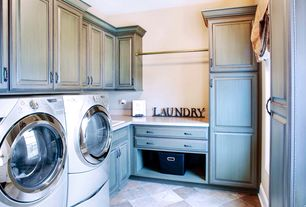 Country Laundry Room with travertine tile floors, stone tile floors, Standard height, specialty door, Paint, Drop-in sink
