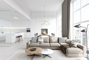 Contemporary Great Room with High ceiling, Chandelier, Built-in bookshelf, Hardwood floors