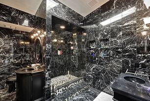 Contemporary 3/4 Bathroom with pental silver wave polished marble, complex marble tile floors, Skylight, Flat panel cabinets
