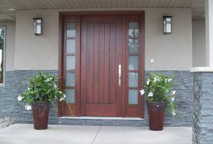 Contemporary Front Door with exterior tile floors, Brindisi Custom Exterior Door, Regency Stacked Stone Faux Panels, Pathway