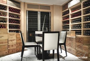 Contemporary Wine Cellar with Nuevo Dania Round Dining Table, simple granite floors, Vinotemp 440TDG Glass Two Door