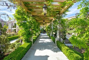 Traditional Landscape/Yard with exterior concrete tile floors, Poured concrete floors, exterior tile floors, Trellis, Pathway